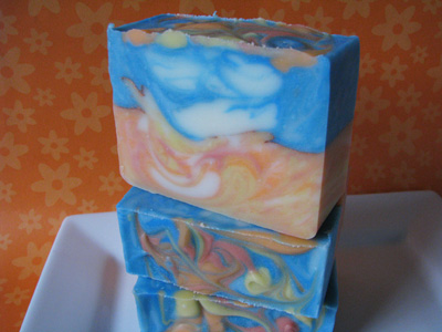 Caribbean Diva Soap by Great Cakes Soapworks, made with the elemental swirl