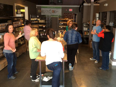 The pre-party gathering at Prairie Soap Co. in Lee's Summit, MO
