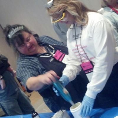 Tina Howard, Majestic Mountain Sage, assisting a new soapmaker