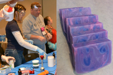 My turn!!  I made this fun soap with amethyst pink and venetian violet colors, scented with Wink fragrance - all from The Sage of course!