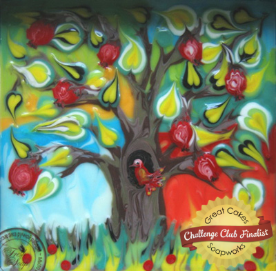 Ebru inspired pomegranate tree soap by Svetlana