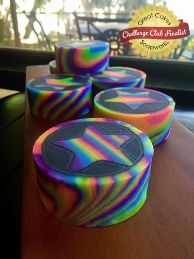 Star Rainbow Rimmed Soap by Kangaroo Apple Soap Studio
