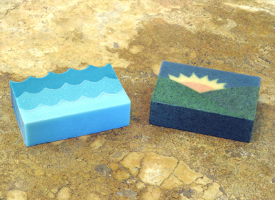 Soaps made with the Sculpted Layers technique by Claudia Carpenter
