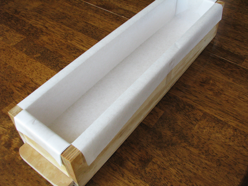 Mold lined with freezer paper